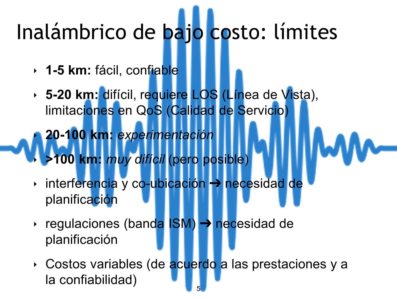 5 Inalámbrico de bajo costo: límites 1-5 km: fácil, confiable 5-20 km: difícil, requiere LOS (Línea de Vista), limitaciones en QoS (Calidad de Servicio) 20-100 km: experimentación >100 km: muy difícil (pero posible) interferencia y co-ubicación necesidad de planificación regulaciones (banda ISM) necesidad de planificación Costos variables (de acuerdo a las prestaciones y a la confiabilidad) 5