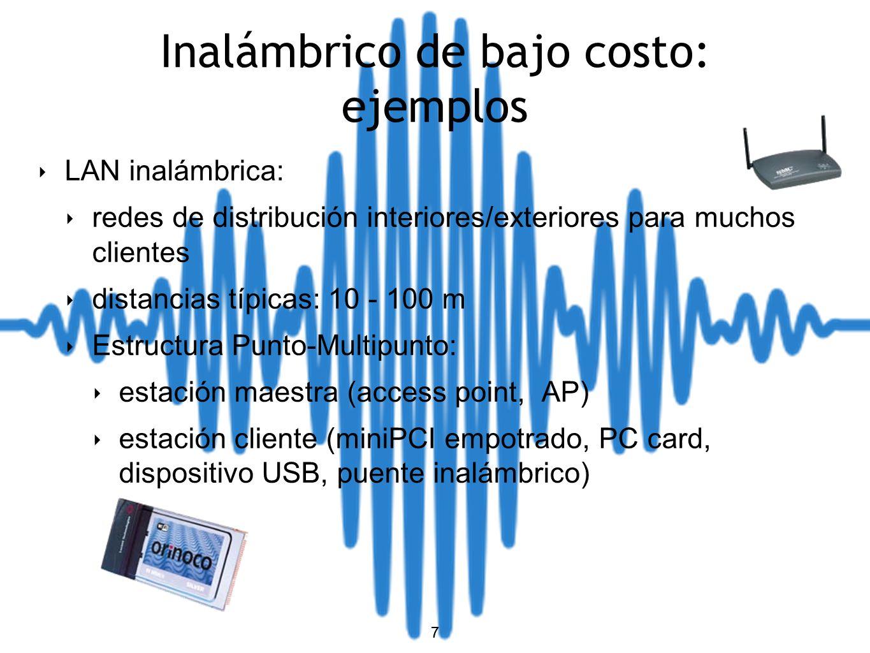8 Inalámbrico de bajo costo: ejemplos MAN (Redes Metropolitanas) inalámbricas: usadas por ISP (Punto a Multipunto) distancias típicas 1-10 km de mediano a gran número de clientes problemas de coexistencia (max.