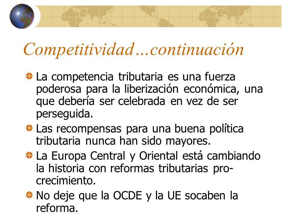 Competitividad La economía global de hoy hace de la buena política tributaria algo mucho más importante. Cargas tributarias menores son la razón del p