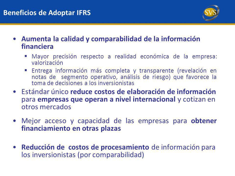 Aumenta la calidad y comparabilidad de la información financiera Mayor precisión respecto a realidad económica de la empresa: valorización Entrega inf