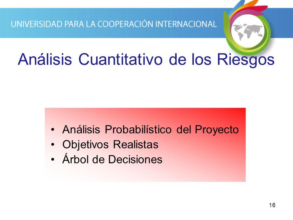 16 Análisis Cuantitativo de los Riesgos Análisis Probabilístico del Proyecto Objetivos Realistas Árbol de Decisiones