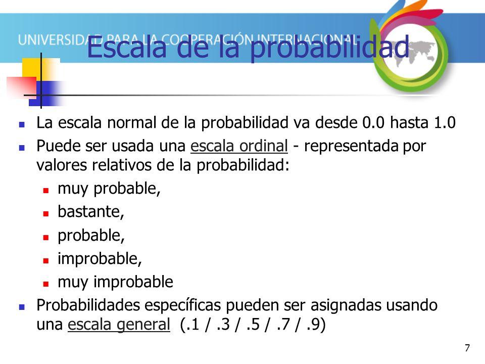 7 Escala de la probabilidad La escala normal de la probabilidad va desde 0.0 hasta 1.0 Puede ser usada una escala ordinal - representada por valores r