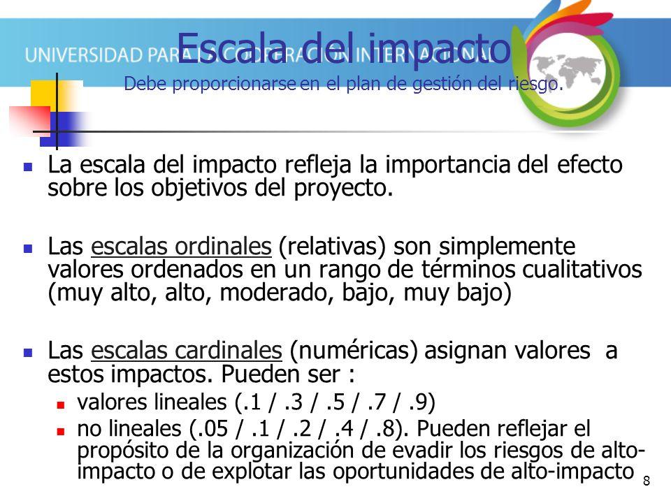 8 Escala del impacto Debe proporcionarse en el plan de gestión del riesgo. La escala del impacto refleja la importancia del efecto sobre los objetivos