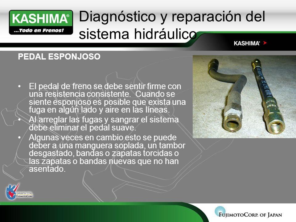 Diagnóstico y reparación del sistema hidráulico PEDAL ESPONJOSO El pedal de freno se debe sentir firme con una resistencia consistente. Cuando se sien