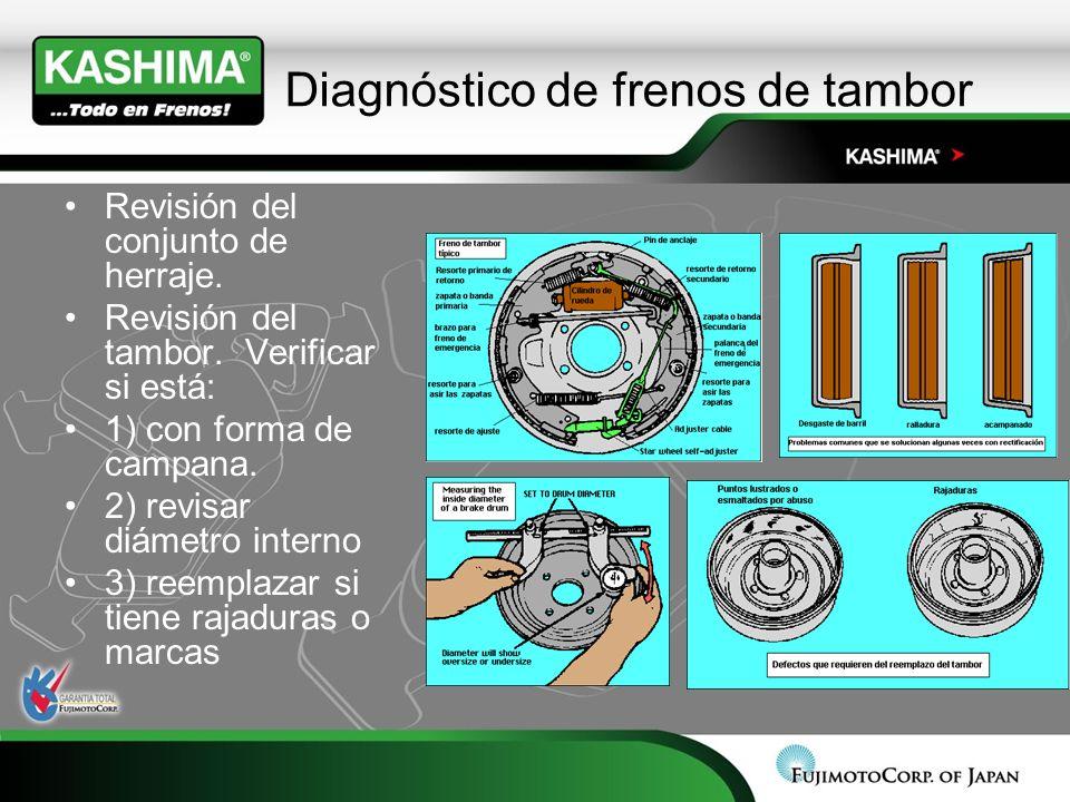 Diagnóstico de frenos de tambor Revisión del conjunto de herraje. Revisión del tambor. Verificar si está: 1) con forma de campana. 2) revisar diámetro