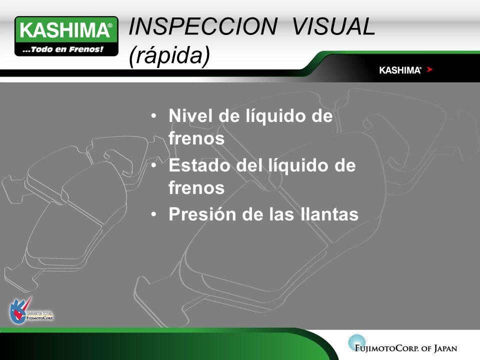 Nivel de líquido de frenos Estado del líquido de frenos Presión de las llantas INSPECCION VISUAL (rápida)