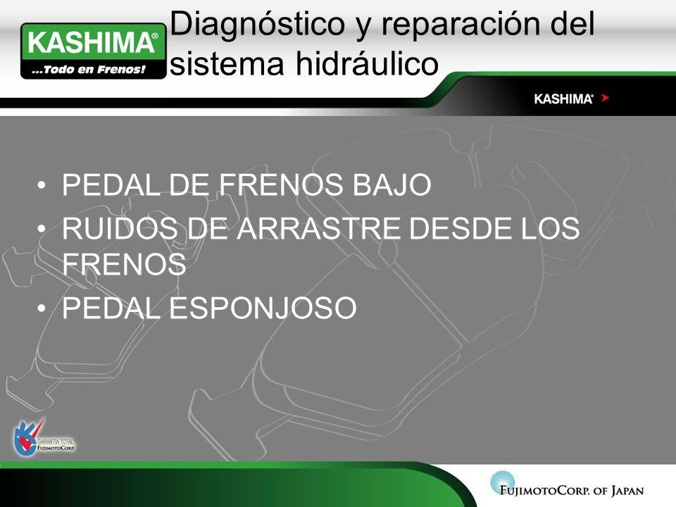 Diagnóstico y reparación del sistema hidráulico PEDAL DE FRENOS BAJO RUIDOS DE ARRASTRE DESDE LOS FRENOS PEDAL ESPONJOSO