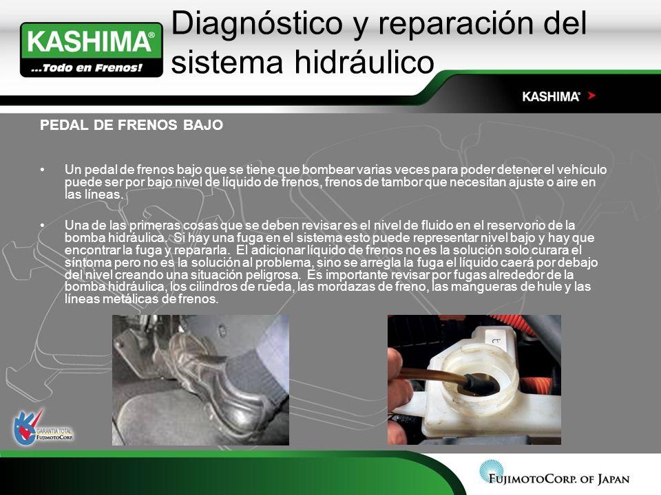Diagnóstico y reparación del sistema hidráulico PEDAL DE FRENOS BAJO Un pedal de frenos bajo que se tiene que bombear varias veces para poder detener