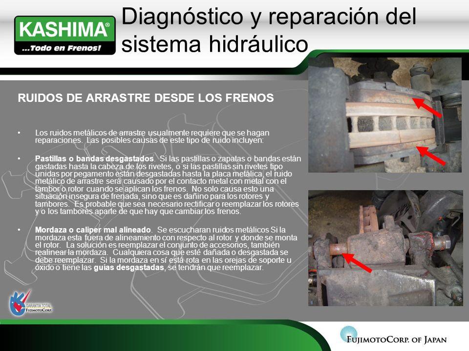 Diagnóstico y reparación del sistema hidráulico RUIDOS DE ARRASTRE DESDE LOS FRENOS Los ruidos metálicos de arrastre usualmente requiere que se hagan