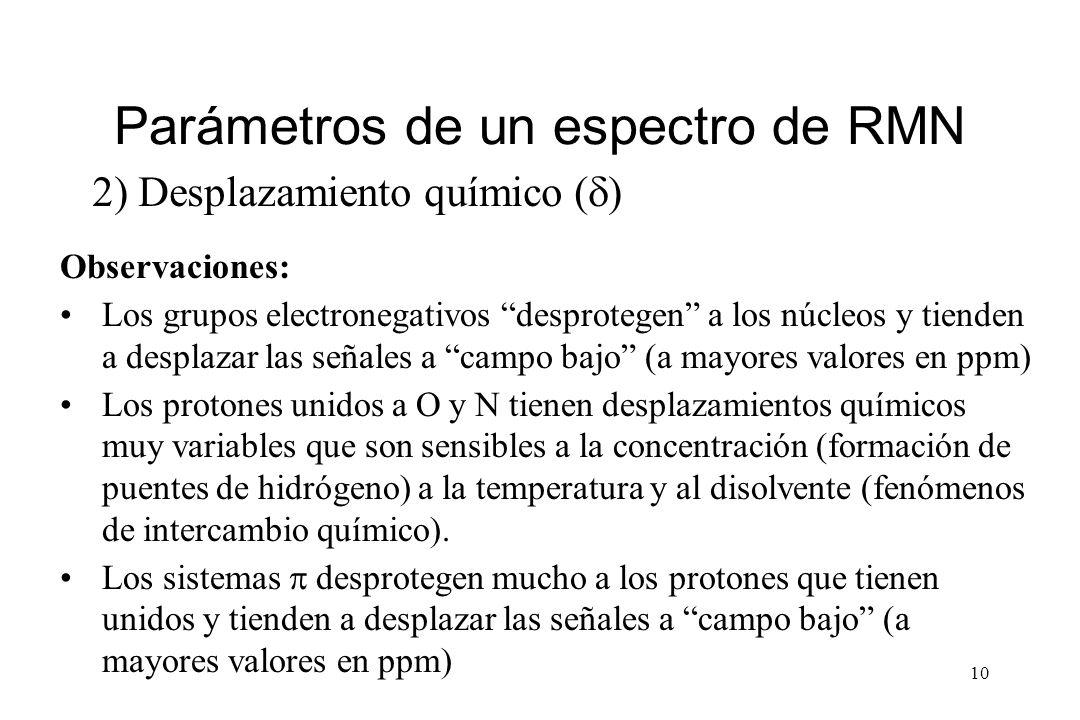 10 Parámetros de un espectro de RMN 2) Desplazamiento químico ( ) Observaciones: Los grupos electronegativos desprotegen a los núcleos y tienden a desplazar las señales a campo bajo (a mayores valores en ppm) Los protones unidos a O y N tienen desplazamientos químicos muy variables que son sensibles a la concentración (formación de puentes de hidrógeno) a la temperatura y al disolvente (fenómenos de intercambio químico).