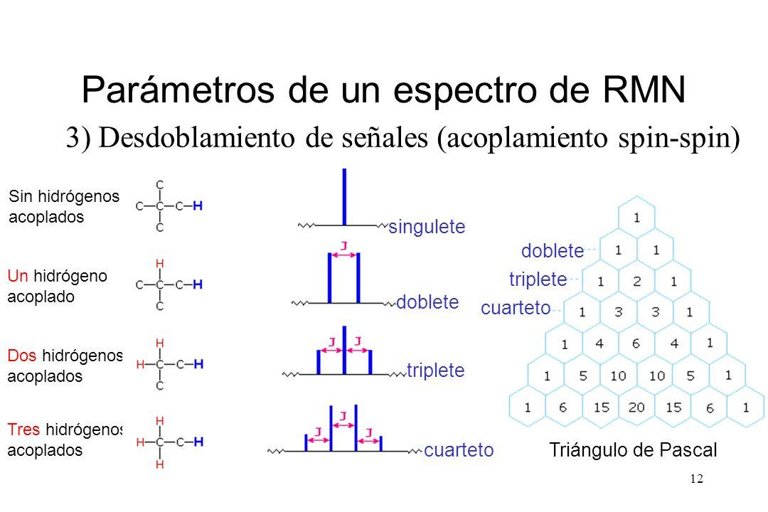 12 Parámetros de un espectro de RMN 3) Desdoblamiento de señales (acoplamiento spin-spin) Sin hidrógenos acoplados Un hidrógeno acoplado Dos hidrógenos acoplados Tres hidrógenos acoplados singulete doblete triplete cuarteto doblete triplete cuarteto Triángulo de Pascal