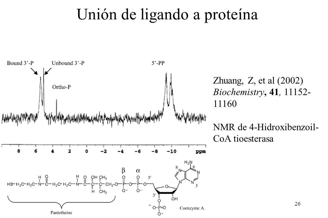 26 Zhuang, Z, et al (2002) Biochemistry, 41, 11152- 11160 NMR de 4-Hidroxibenzoil- CoA tioesterasa Unión de ligando a proteína