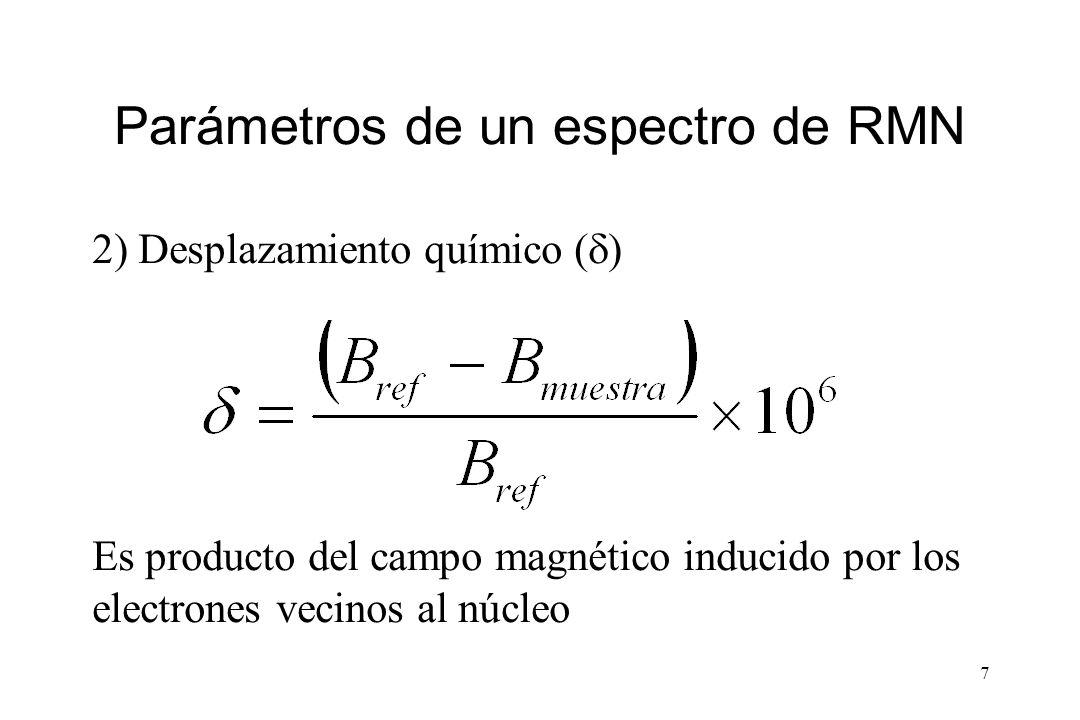 7 Parámetros de un espectro de RMN 2) Desplazamiento químico ( ) Es producto del campo magnético inducido por los electrones vecinos al núcleo