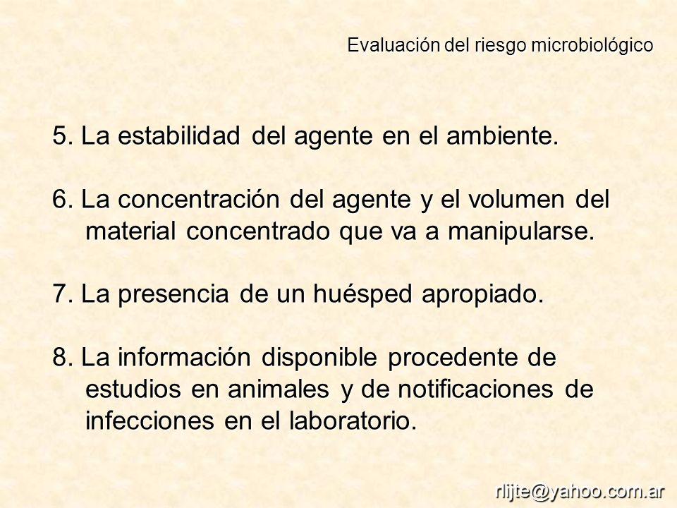 5. La estabilidad del agente en el ambiente. 6. La concentración del agente y el volumen del material concentrado que va a manipularse. 7. La presenci
