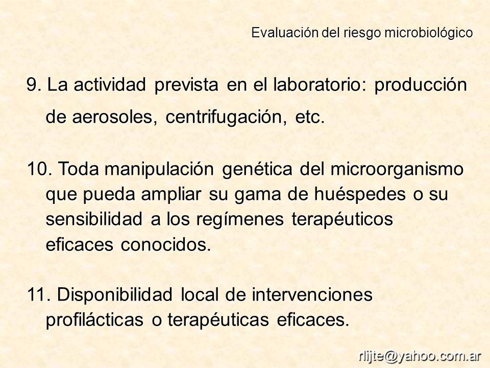 9. La actividad prevista en el laboratorio: producción de aerosoles, centrifugación, etc. 10. Toda manipulación genética del microorganismo que pueda