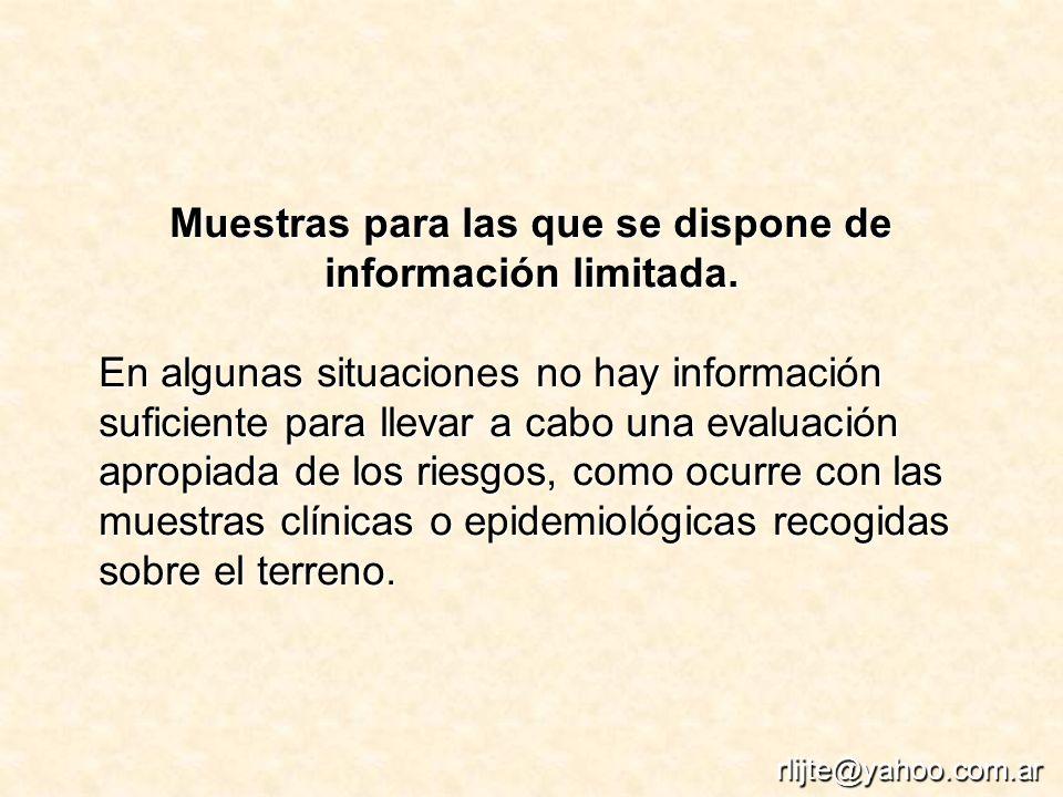 Muestras para las que se dispone de información limitada. En algunas situaciones no hay información suficiente para llevar a cabo una evaluación aprop