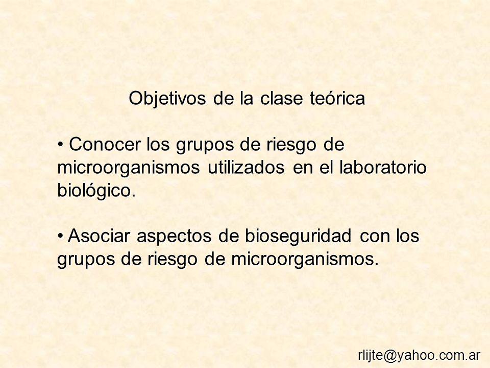 Objetivos de la clase teórica Conocer los grupos de riesgo de microorganismos utilizados en el laboratorio biológico. Conocer los grupos de riesgo de