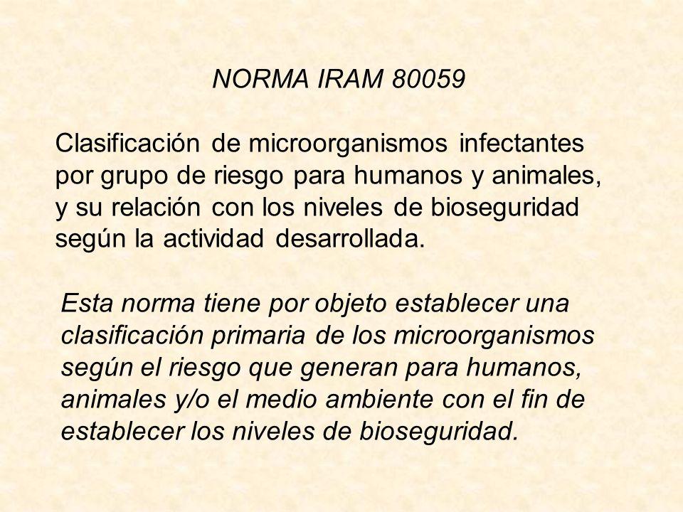 NORMA IRAM 80059 Clasificación de microorganismos infectantes por grupo de riesgo para humanos y animales, y su relación con los niveles de bioseguridad según la actividad desarrollada.