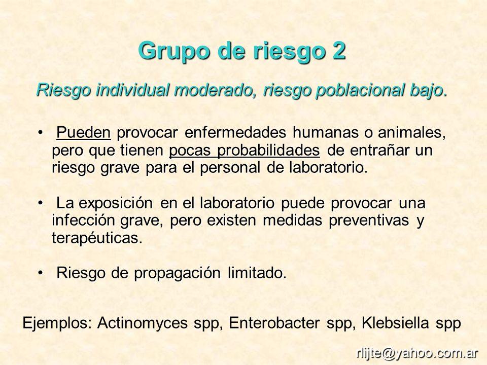 Grupo de riesgo 2 Riesgo individual moderado, riesgo poblacional bajo. Pueden provocar enfermedades humanas o animales, pero que tienen pocas probabil