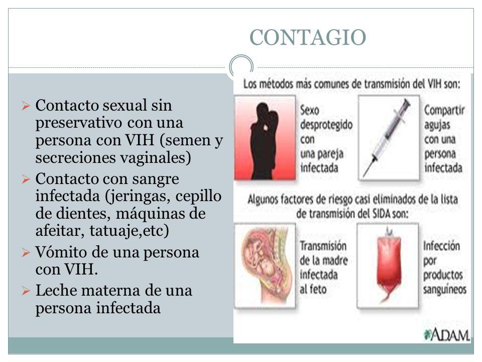 CONTAGIO Contacto sexual sin preservativo con una persona con VIH (semen y secreciones vaginales) Contacto con sangre infectada (jeringas, cepillo de