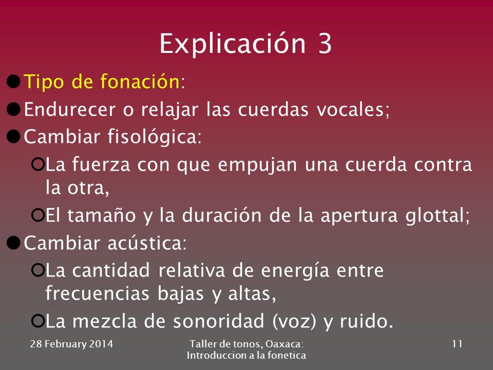 28 February 2014Taller de tonos, Oaxaca: Introduccion a la fonetica 10 Variacion en la intensidad de la señal mas debil mas fuerte creciente decrecien