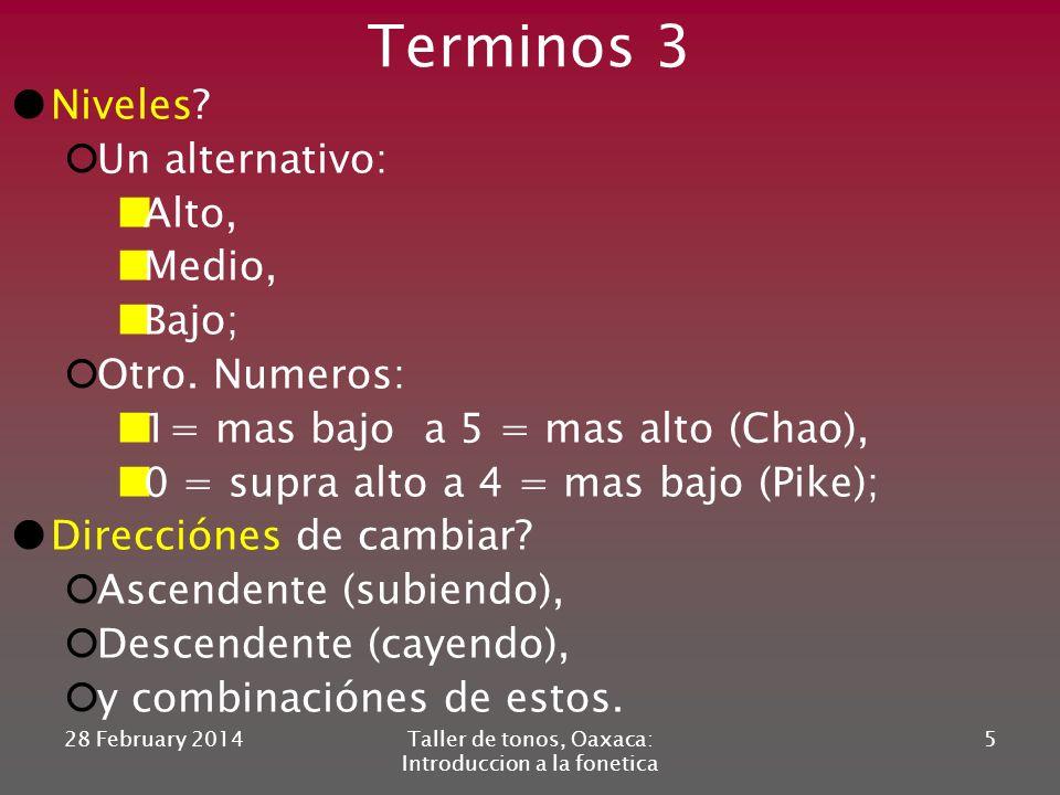 Terminos 2 Tipo de fonación = calidad de la voz; Independiente del tono (parcialmente); Tipos: glotalizado*-modal-murmurado. *tambien: chirriante, cru