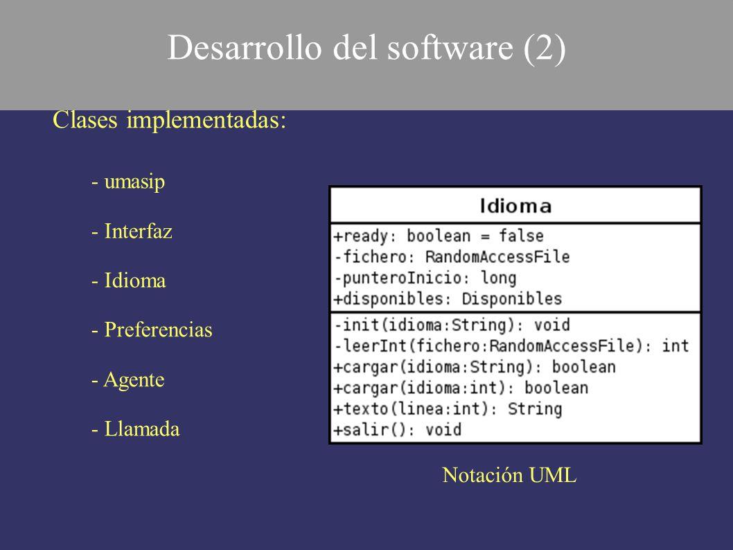 Clases implementadas: - umasip - Interfaz - Idioma - Preferencias - Agente - Llamada Notación UML Desarrollo del software (2)