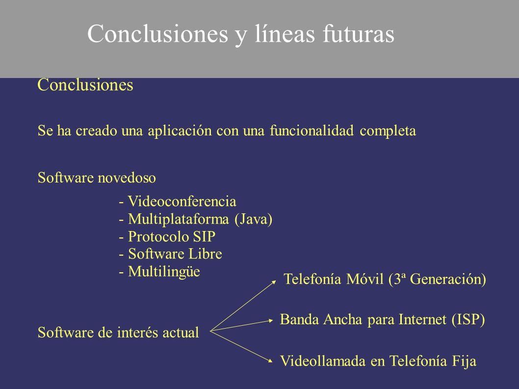 Conclusiones Se ha creado una aplicación con una funcionalidad completa - Videoconferencia - Multiplataforma (Java) - Protocolo SIP - Software Libre -