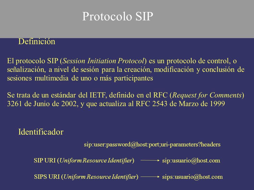 - Un agente de usuario o UA (User Agent), integra cliente y servidor - El cliente de agente de usuario o UAC (User Agent Client) - El servidor de agente de usuario o UAS (User Agent Server) - Un proxy o servidor proxy es una entidad intermedia que actúa como servidor - Un servidor de redirección genera respuestas de redirección (respuestas 3xx) - Un proxy de registro, o en inglés registrar, provee un servicio de localización Introducción Protocolo SIP Elementos SIP Protocolo SIP (2)
