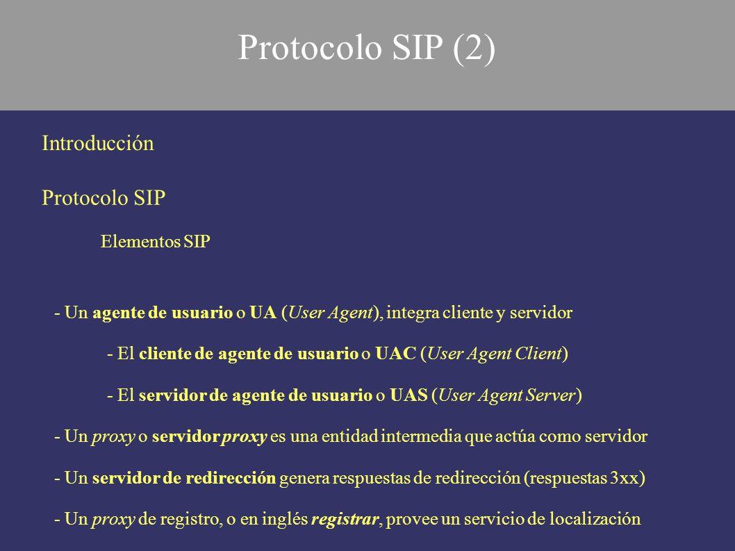 Mensajes SIP Mensajes PeticiónMensajes Respuesta (Código y Frase Textual Asociada) REGISTER INVITE ACK CANCEL BYE OPTIONS Cabecera Cuerpo del Mensaje (Protocolo SDP) 1xx: Provisional (Provisional) 2xx: Éxito (Success) 3xx: Redirección (Redirection) 4xx: Error de Cliente (Client Error) 5xx: Error de Servidor (Server Error) 6xx: Fallo Global (Global Failure) Protocolo SIP (3)