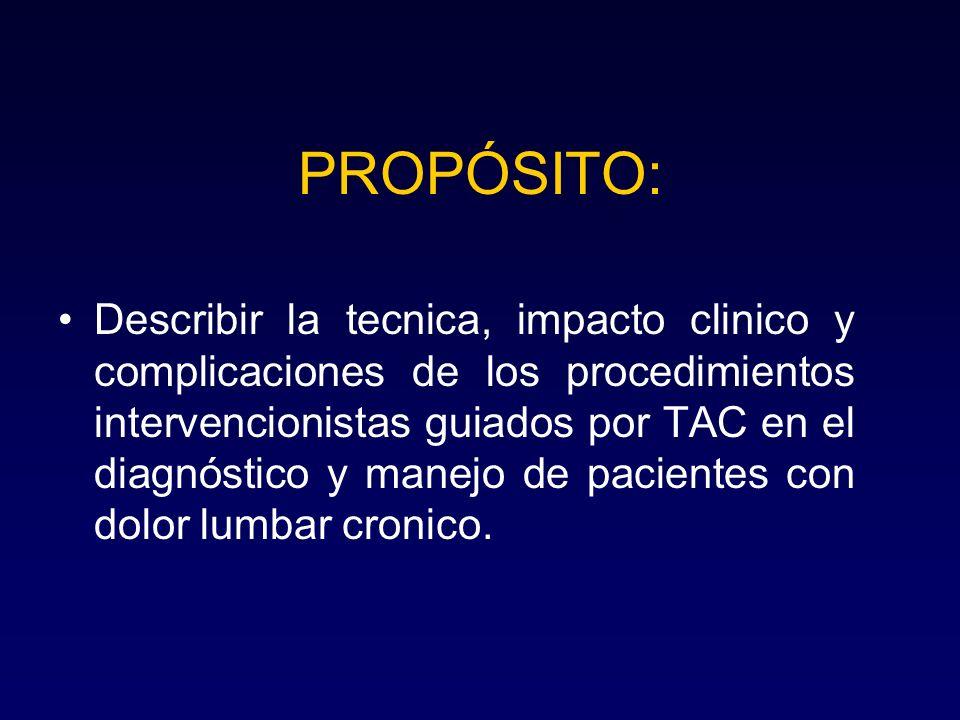 PROPÓSITO: Describir la tecnica, impacto clinico y complicaciones de los procedimientos intervencionistas guiados por TAC en el diagnóstico y manejo d