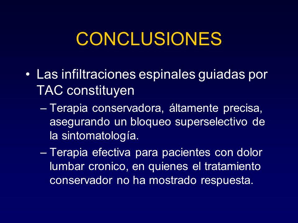 Las infiltraciones espinales guiadas por TAC constituyen –Terapia conservadora, áltamente precisa, asegurando un bloqueo superselectivo de la sintomat