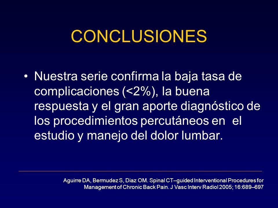 Nuestra serie confirma la baja tasa de complicaciones (<2%), la buena respuesta y el gran aporte diagnóstico de los procedimientos percutáneos en el e