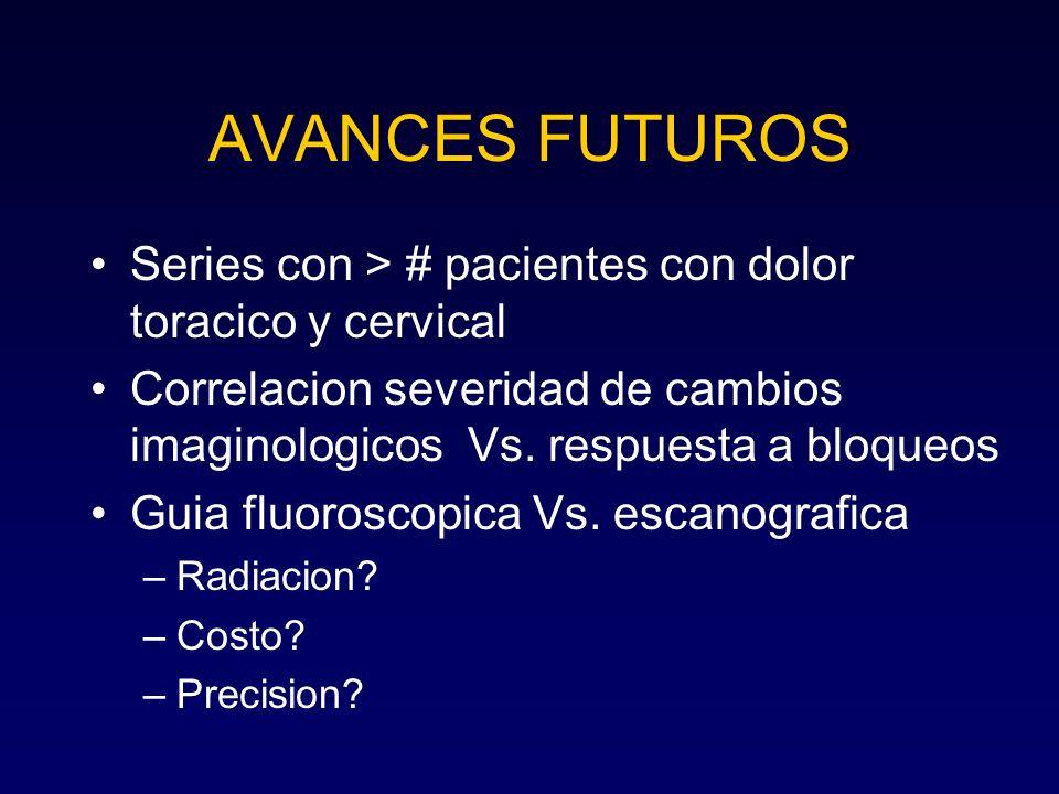 AVANCES FUTUROS Series con > # pacientes con dolor toracico y cervical Correlacion severidad de cambios imaginologicos Vs. respuesta a bloqueos Guia f