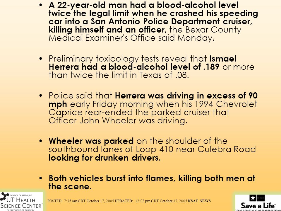 A 22-year-old man had a blood-alcohol level twice the legal limit when he crashed his speeding car into a San Antonio Police Department cruiser, killi
