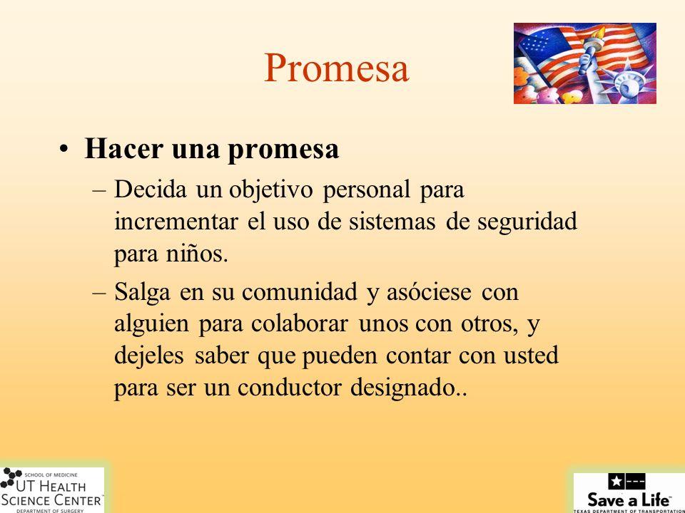 Promesa Hacer una promesa –Decida un objetivo personal para incrementar el uso de sistemas de seguridad para niños. –Salga en su comunidad y asóciese