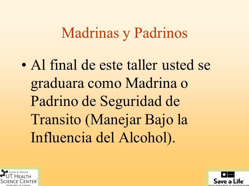 Madrinas y Padrinos Al final de este taller usted se graduara como Madrina o Padrino de Seguridad de Transito (Manejar Bajo la Influencia del Alcohol).
