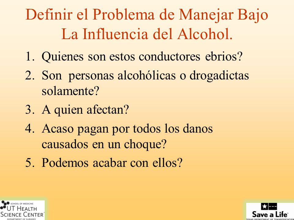 Definir el Problema de Manejar Bajo La Influencia del Alcohol. 1.Quienes son estos conductores ebrios? 2.Son personas alcohólicas o drogadictas solame