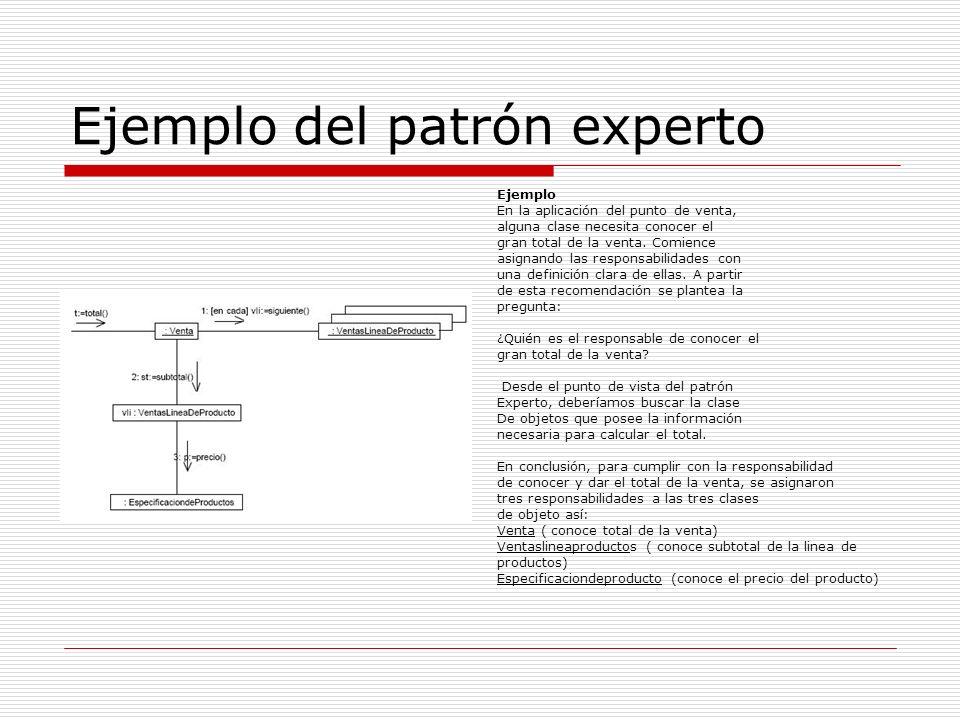 Ejemplo del patrón experto Ejemplo En la aplicación del punto de venta, alguna clase necesita conocer el gran total de la venta. Comience asignando la