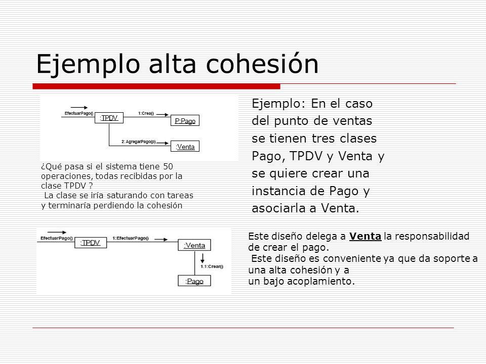 Ejemplo alta cohesión Ejemplo: En el caso del punto de ventas se tienen tres clases Pago, TPDV y Venta y se quiere crear una instancia de Pago y asoci