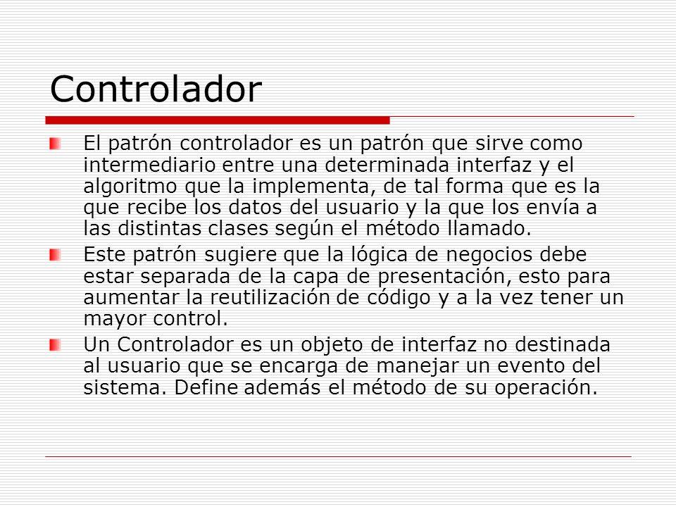 Controlador El patrón controlador es un patrón que sirve como intermediario entre una determinada interfaz y el algoritmo que la implementa, de tal fo