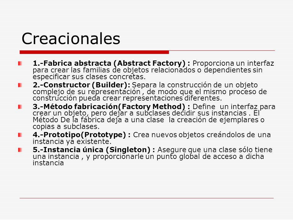Creacionales 1.-Fabrica abstracta (Abstract Factory) : Proporciona un interfaz para crear las familias de objetos relacionados o dependientes sin espe