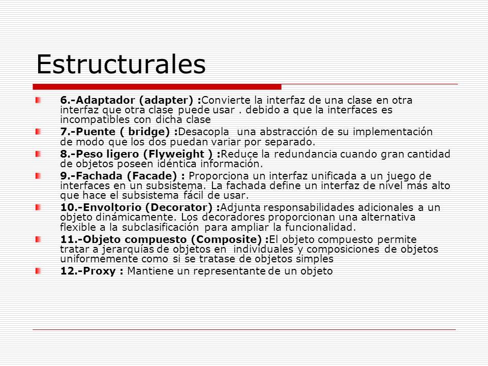 Estructurales 6.-Adaptador (adapter) :Convierte la interfaz de una clase en otra interfaz que otra clase puede usar. debido a que la interfaces es inc