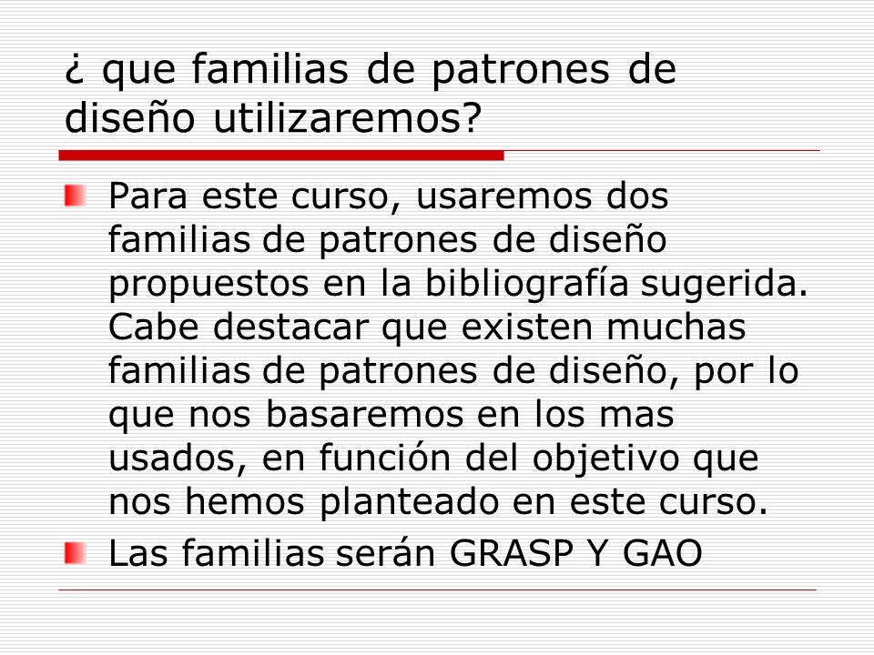 Descripción de familias de patrones GRASP : son patrones generales de software para asignación de responsabilidades, es el acrónimo de General Responsibility Assignment Software Patterns .