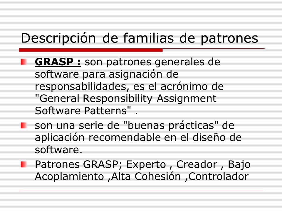 Descripción de familias de patrones GRASP : son patrones generales de software para asignación de responsabilidades, es el acrónimo de