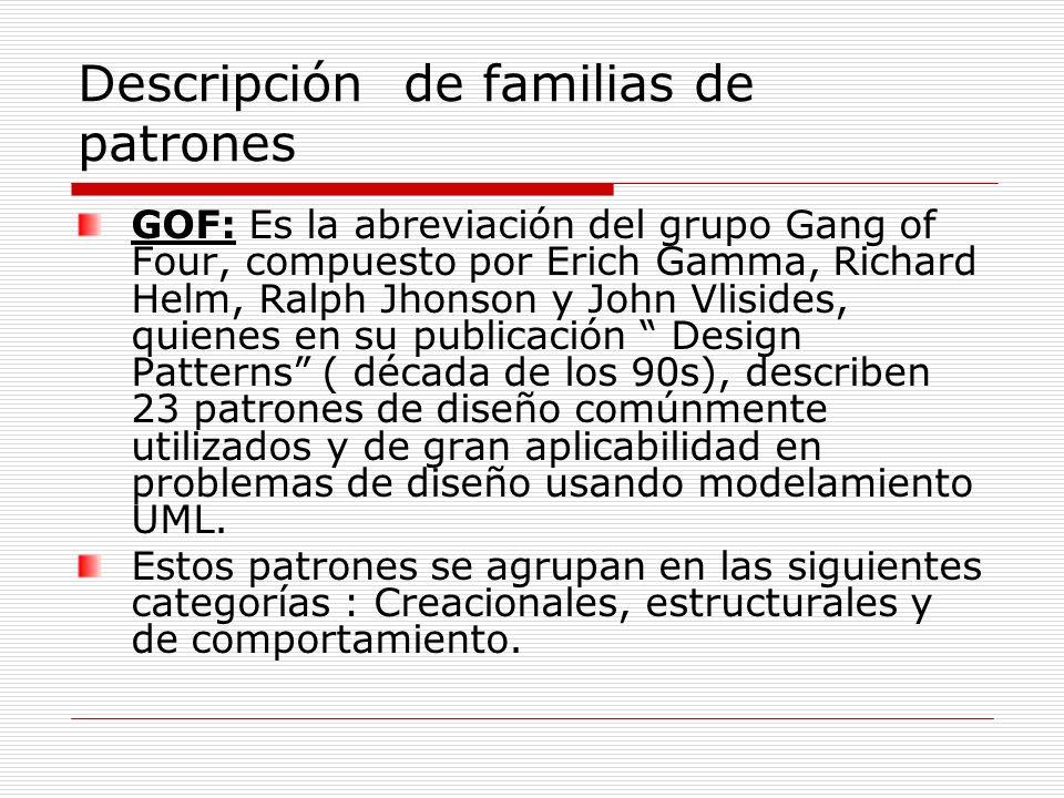 Descripción de familias de patrones GOF: Es la abreviación del grupo Gang of Four, compuesto por Erich Gamma, Richard Helm, Ralph Jhonson y John Vlisi