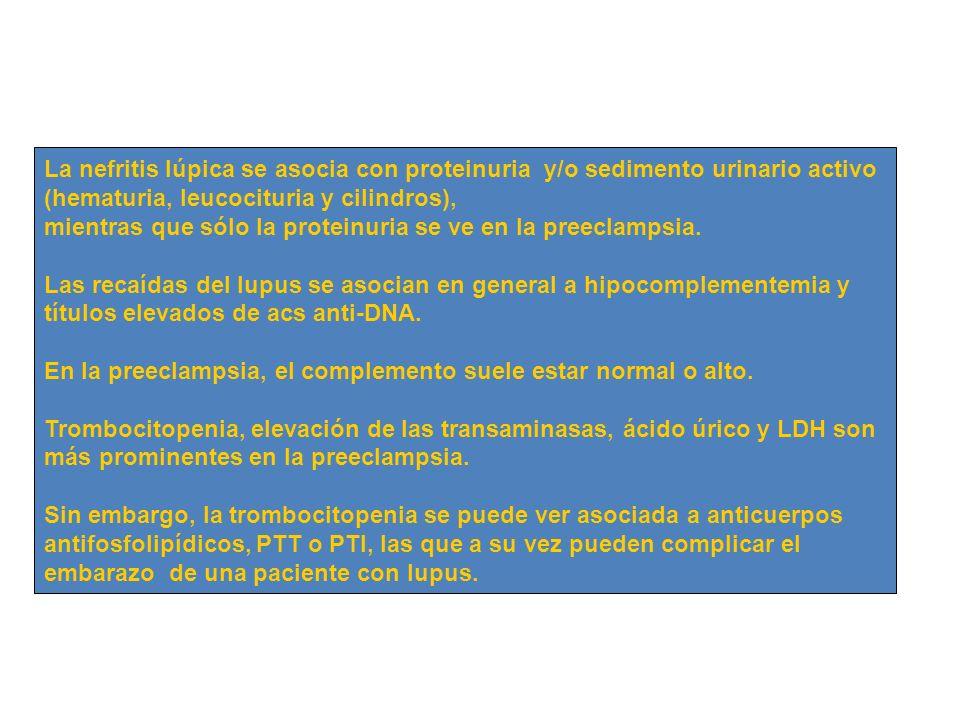 La nefritis lúpica se asocia con proteinuria y/o sedimento urinario activo (hematuria, leucocituria y cilindros), mientras que sólo la proteinuria se