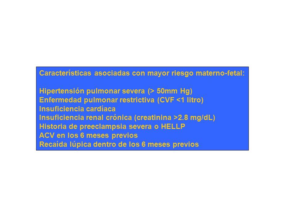 Características asociadas con mayor riesgo materno-fetal: Hipertensión pulmonar severa (> 50mm Hg) Enfermedad pulmonar restrictiva (CVF <1 litro) Insu
