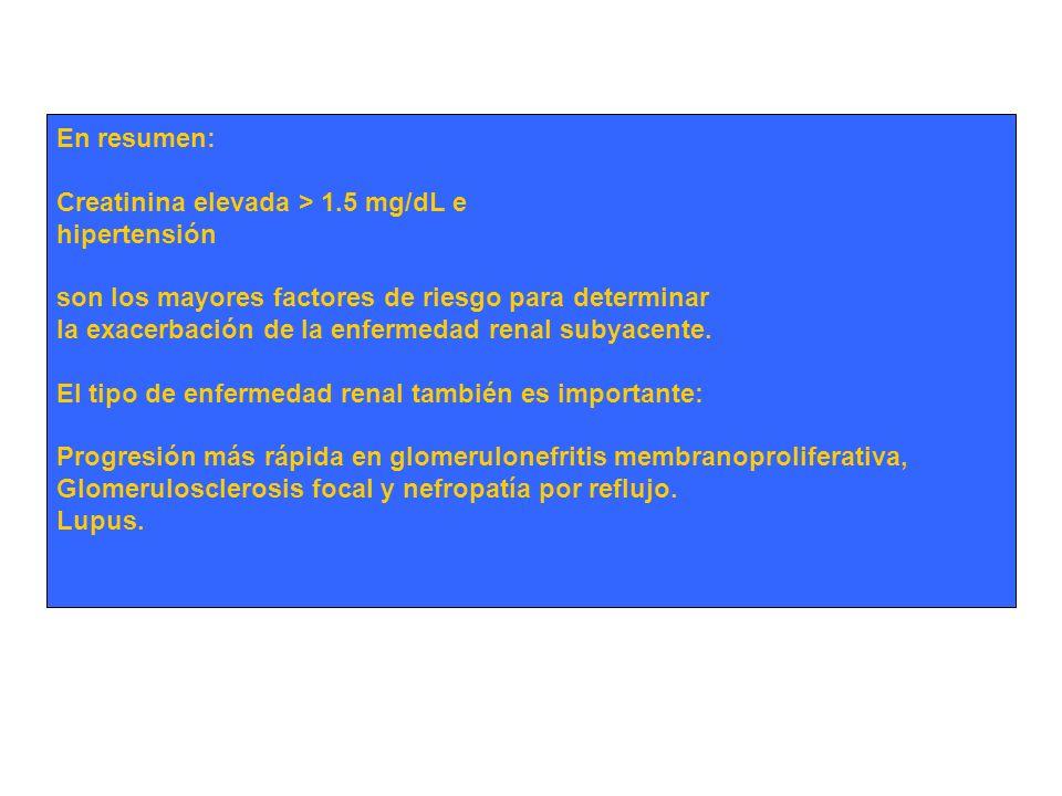En resumen: Creatinina elevada > 1.5 mg/dL e hipertensión son los mayores factores de riesgo para determinar la exacerbación de la enfermedad renal su