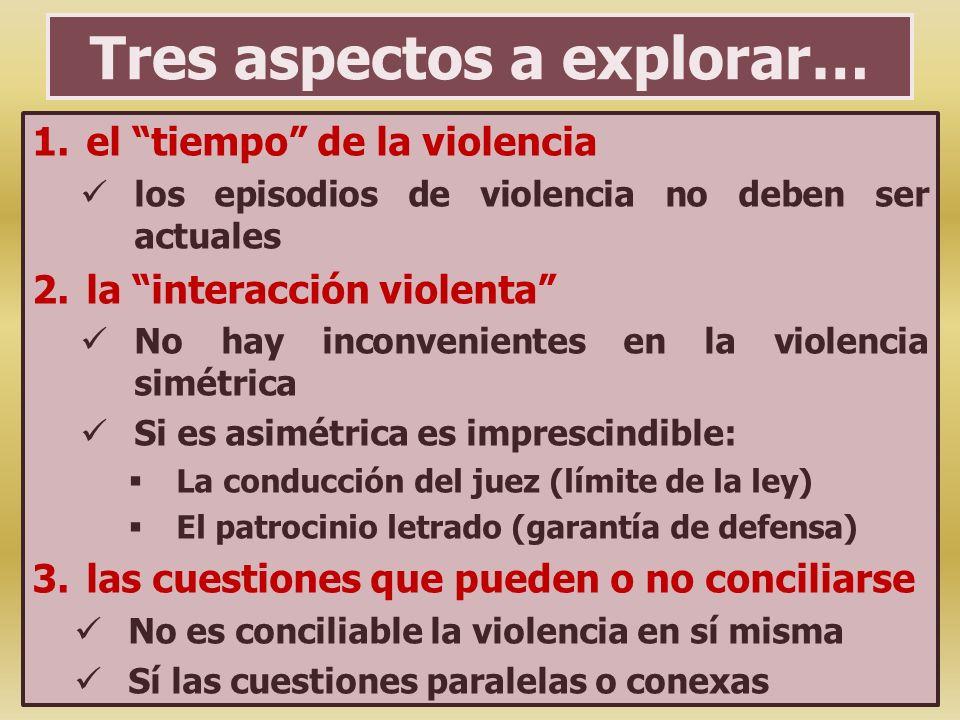 Tres aspectos a explorar… 1.el tiempo de la violencia los episodios de violencia no deben ser actuales 2.la interacción violenta No hay inconvenientes